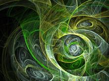 Green Fractal On Black