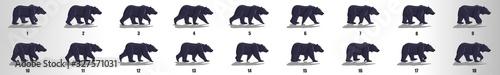 Fototapeta Bear Walk cycle animation frames, loop animation sequence sprite sheet  obraz