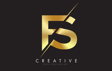 FS F S Golden Letter Logo Desi...