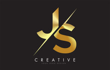 JS J S Golden Letter Logo Desi...