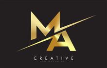 MA M A Golden Letter Logo Design With A Creative Cut.