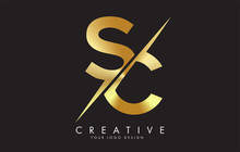 SC S C Golden Letter Logo Desi...