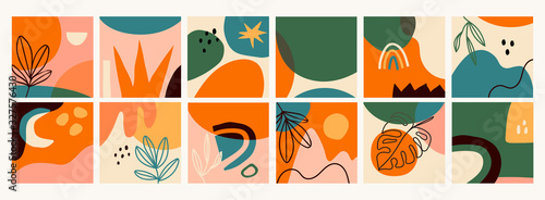 Fototapeta Big Set of Twelve abstract backgrounds