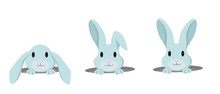 Rabbit Peeps Out Of Hole. Vect...
