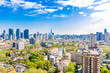 Shanghai, China - Apr 9, 2015: Blue & green Shanghai: Clean, blue sky with clouds and many trees between residential buildings. In the distance the Shanghai Skyline. A different view on the metropolis