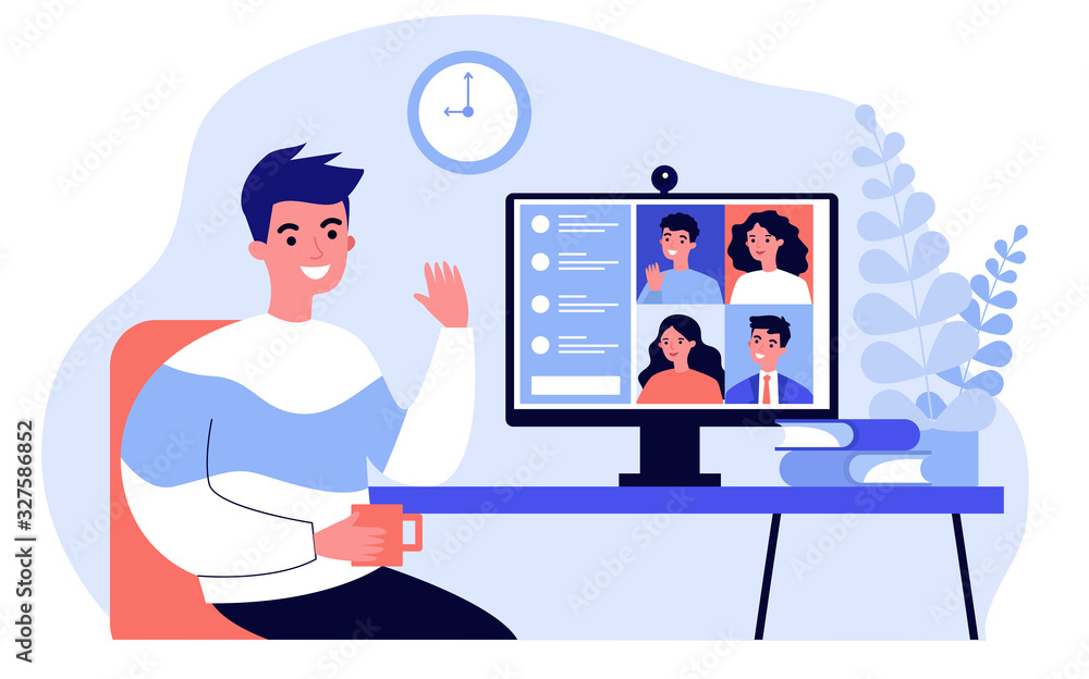 Fototapeta Worker using computer for collective virtual meeting and group video conference. Man at desktop chatting with friends online. Vector illustration for videoconference, remote work, technology concept