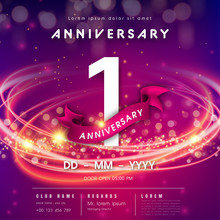 1 Years Anniversary Logo Template On Purple Abstract Futuristic Space Background. 1st Modern Technology Design Celebrating Numbers With Hi-tech Network Digital Technology Concept Design Elements.