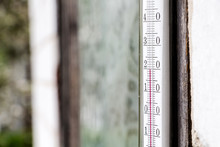 Old Glass Thermometer For Measuring Outdoor Temperature, Showing Twenty Degrees Centigrade, Closeup