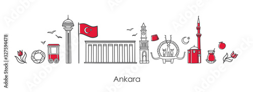 Photo Vector illustration Symbols of Ankara, Turkey