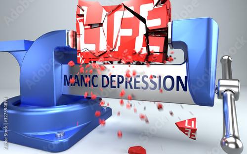 Fényképezés Manic depression can ruin and destruct life - symbolized by word Manic depressio