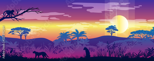 Rainforest horizontal landscape with leopard, cheetah, monkey, exotic plants, trees outline. Jungle panorama with sun, palms and tropical animals' silhouettes. Wild nature banner in trendy neon colors