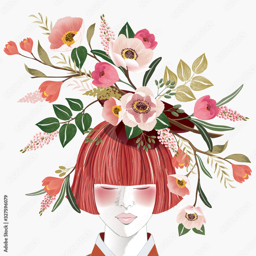 Fototapeta Vector illustration of a short-haired girl with flowers on her head, Korean traditional container decorating with flowers. Design for picture frame, poster, greeting card, and invitation