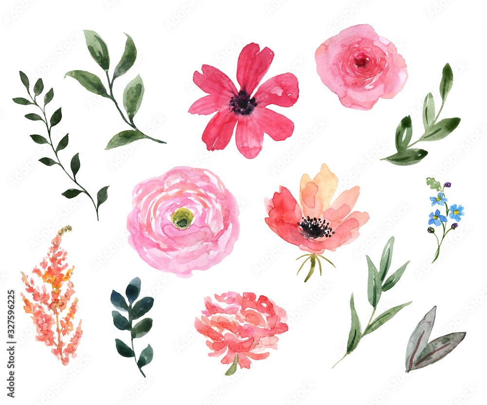 Fototapeta Watercolor floral set. Cute pink wild flowers, green leaf, foliage, isolated on white background. Botanical elements illustration. Pastel color palette. Great for wedding design, cards, invitations