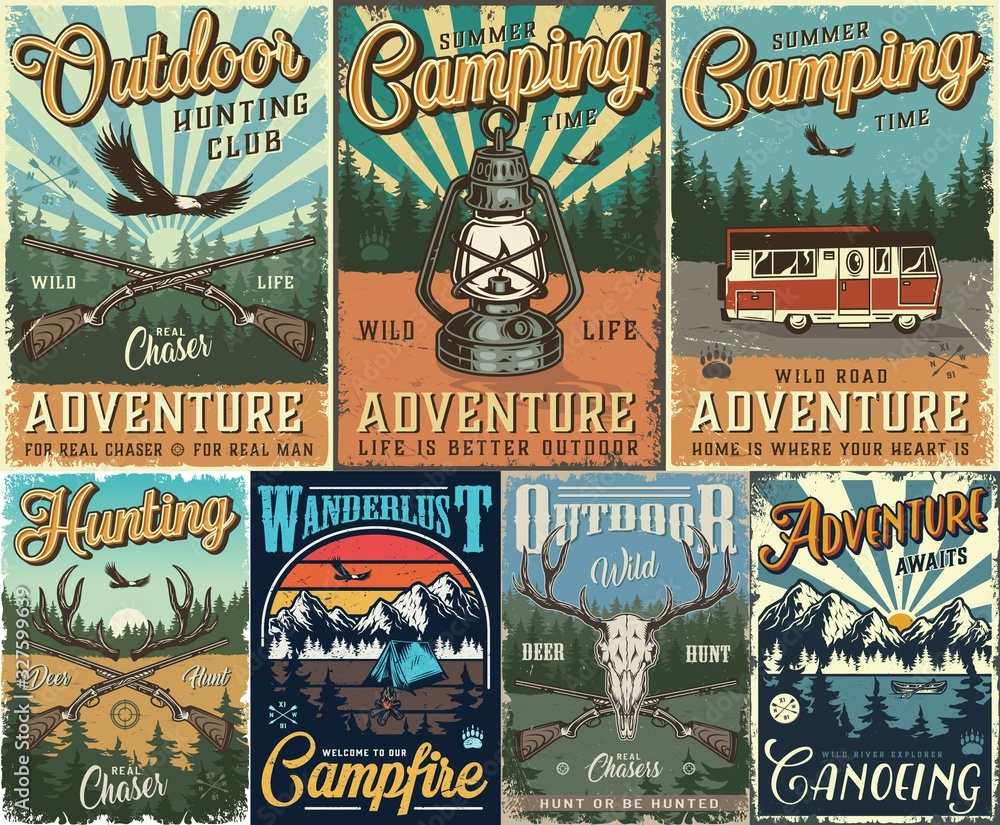 Fototapeta Vintage hunting and camping colorful posters