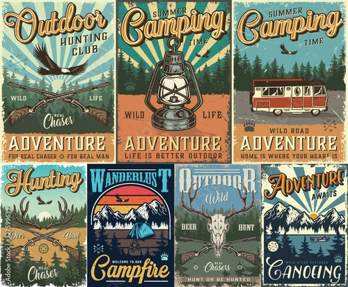 Fotografering Vintage hunting and camping colorful posters