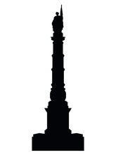 Vector Illustration Of The Black Silhouette Of Symbol Of Boston - Soldiers And Sailors Monument