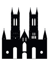 Vector Illustration Of The Black Silhouette Of Symbol Of Lincoln - Lincoln Cathedral