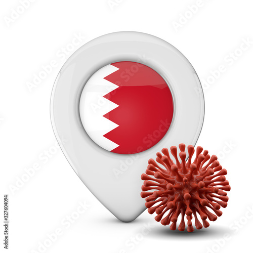 Bahrain location marker with virus or disease microbe. 3D Render Canvas Print