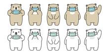 Bear Vector Face Mask Covid 19 Polar Bear Coronavirus Virus Pm 2.5 Icon Teddy Logo Symbol Character Cartoon Doodle Illustration Design