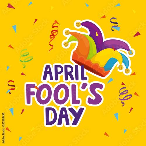 april fools day with hat buffoon vector illustration design Fototapeta