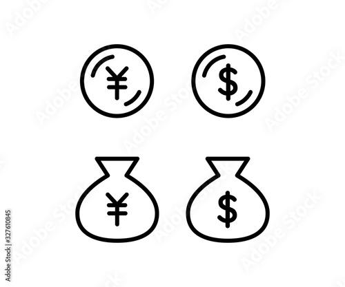 Fototapeta お金のアイコン、ビジネス、ドル、円、ピクトグラム obraz