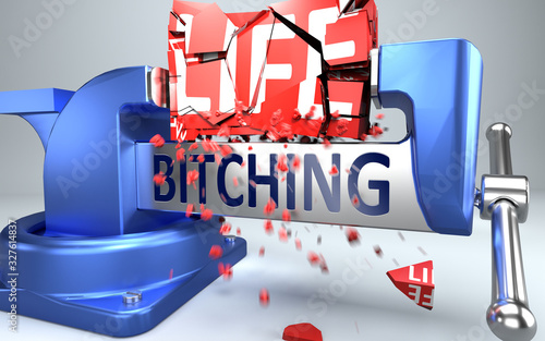 Bitching can ruin and destruct life - symbolized by word Bitching and a vice to Wallpaper Mural
