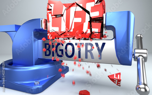 Bigotry can ruin and destruct life - symbolized by word Bigotry and a vice to sh Wallpaper Mural