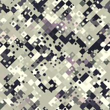 Seamless Black Purple Geometric Abstract Glitch Texture Background. Variegated Interlocking Geo Shapes Pattern. Funky Mosaic Ethnic Style All Over Print. Trendy Modern Graphic Gradient Fashion Swatch.