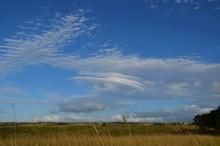 Vielfältige Wolkenformation Am Blauen Himmel über Gelbem Feld Auf Oahu, Hawaii