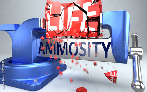 Animosity can ruin and destruct life - symbolized by word Animosity and a vice t Canvas Print