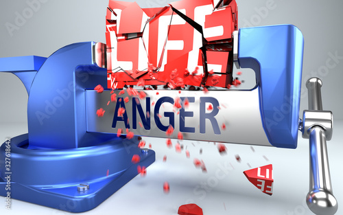 Valokuvatapetti Anger can ruin and destruct life - symbolized by word Anger and a vice to show n