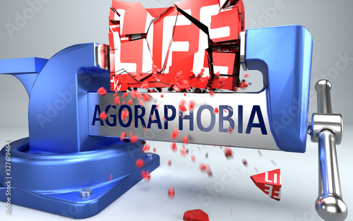 Agoraphobia can ruin and destruct life - symbolized by word Agoraphobia and a vi Canvas Print