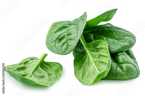 Fototapeta Pile of baby spinach leaves isolated on white background. Fresh green spinach.  Closeup obraz