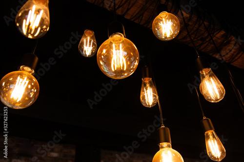 hanging Edison bulbs (vintage lighting bulb) Canvas Print