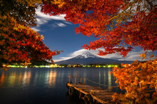 The View Of Mount Fuji At Nigh...