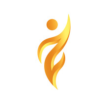 Abstract Human Icon, Champion And Winner Golden Symbol, Torch Sign, Logo Concept For Sport, Nutrition, Medicine And Art, Isolated Vector Emblem Template