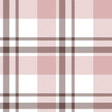 Pink check pattern vector background. Seamless tartan plaid in brown, light pink, and white for flannel shirt, scarf, skirt, blanket, or other modern textile design. herringbone texture. - 327630878