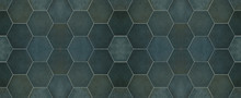 Green Modern Tile Mirror Made Of Hexagonl Tiles Texture Background Banner Panorama