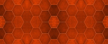 Fire Red Modern Tile Mirror Made Of Hexagon Tiles Texture Background Banner Panorama