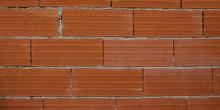 Modern New Large Red Brick Wall Orange Bricks Background New Wall Texture Site Under Construction