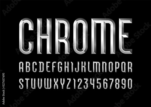 Tablou Canvas Chrome alphabet from chiseled block, font with effect of metallic, beveled lette