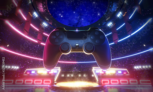 Cuadros en Lienzo Neon light glow e-sport arena with the big joy pad in middle stadium, 3d rendering background illustration