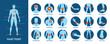 Creative vector illustration of body pain, injury icon set, anatomy silhouette. Design body point pain template. Sore throat, headache, heartache, heartburn. Medical treatment infographics concept.