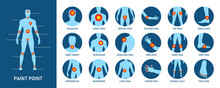 Creative Vector Illustration Of Body Pain, Injury Icon Set, Anatomy Silhouette. Design Body Point Pain Template. Sore Throat, Headache, Heartache, Heartburn. Medical Treatment Infographics Concept.