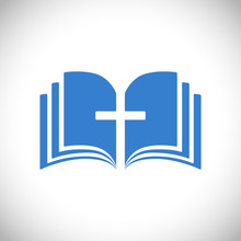 Cross And Book Blue Logotype C...