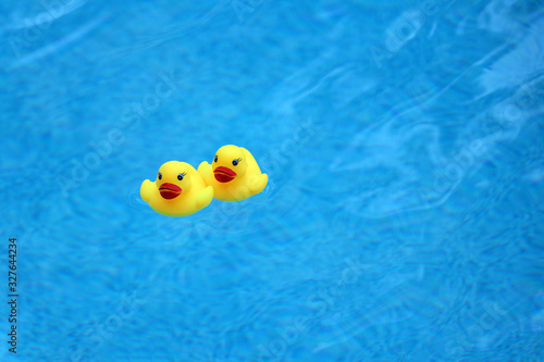 Fényképezés Two yellow rubber ducks floating on the surface of a blue swimming pool, space for copy