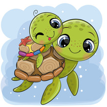 Cartoon Water Turtles Father A...