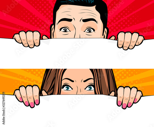 Man and woman looking. Retro comic pop art vector illustration Fototapeta