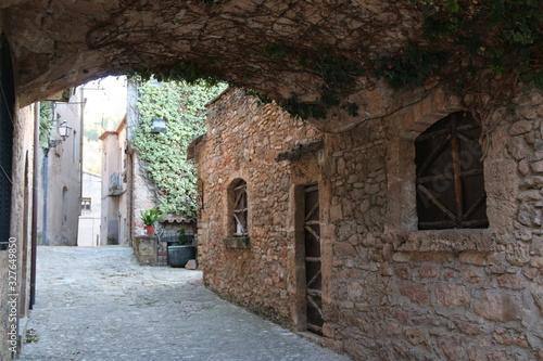 antiguas casas de pìedra en catalunya Canvas Print