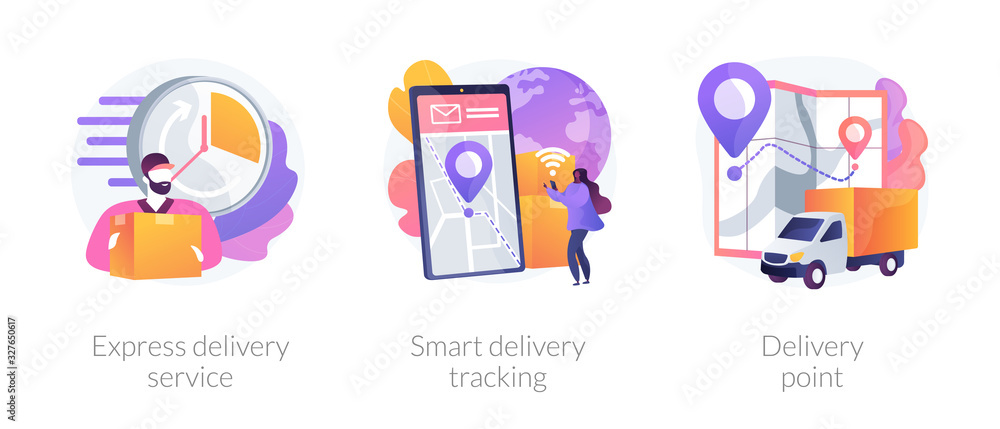 Fototapeta Parcel shipment services metaphors. Express delivering, online smart tracking, courier. Order delivery point. Cargo truck location. Courier with box abstract concept vector illustration set.